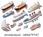 ships and boats of different... | Shutterstock .eps vector #684679747