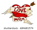 old school heart tattoo with... | Shutterstock . vector #684681574