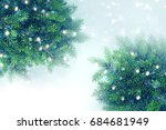 christmas tree branches border. | Shutterstock . vector #684681949