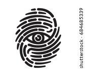 fingerprint with eye inside....   Shutterstock . vector #684685339