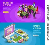 casino isometric banners with... | Shutterstock .eps vector #684686365
