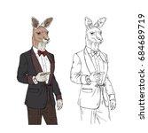 kangaroo gentleman with cigar ... | Shutterstock .eps vector #684689719