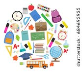 set of different school... | Shutterstock .eps vector #684692935