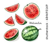 watermelon whole and slices... | Shutterstock .eps vector #684693169
