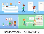 a horizontal set of medical... | Shutterstock .eps vector #684693319