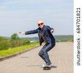 energetic senior man enjoying... | Shutterstock . vector #684701821