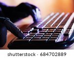 a person uses the keyboard of a ... | Shutterstock . vector #684702889