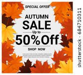autumn sale banner with...   Shutterstock .eps vector #684710311