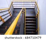 the walkway shows safe climbing ... | Shutterstock . vector #684710479