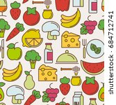 organic food seamless pattern... | Shutterstock .eps vector #684712741