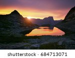 Sunset In Mountains Near Lake....