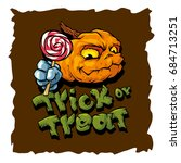 trick or treat cartoon vector... | Shutterstock .eps vector #684713251