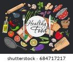 food cooking background vector... | Shutterstock .eps vector #684717217