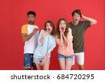 image of young shocked group of ... | Shutterstock . vector #684720295