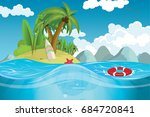 a paradise island in the middle ... | Shutterstock .eps vector #684720841