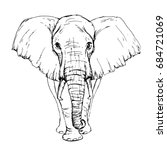 sketch by pen african elephant... | Shutterstock .eps vector #684721069