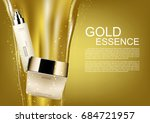 cosmetic set with pouring gold... | Shutterstock .eps vector #684721957