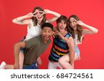 picture of young happy group of ... | Shutterstock . vector #684724561