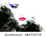 abstract woman face. fashion... | Shutterstock . vector #684724714