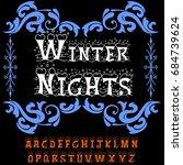decorative winter nights script ...   Shutterstock .eps vector #684739624