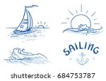 set of different nautical... | Shutterstock .eps vector #684753787