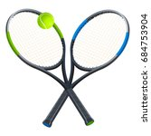 two tennis rackets with a ball. ... | Shutterstock .eps vector #684753904