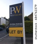 Small photo of Europe UK Bedfordshire Bedford July 2017. Estate agent advertising board. Let sign.