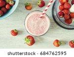 strawberry milkshake in the... | Shutterstock . vector #684762595