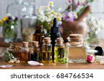 selection of essential oils... | Shutterstock . vector #684766534