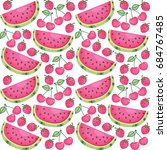 seamless pattern with fruits... | Shutterstock .eps vector #684767485