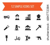 set of 12 editable building...