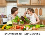 mother and daughter cook and... | Shutterstock . vector #684780451