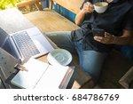 smart asian man digital nomad... | Shutterstock . vector #684786769