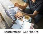 asian man digital nomad sit and ... | Shutterstock . vector #684786775