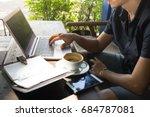 smart asian man digital nomad... | Shutterstock . vector #684787081