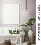 mock up poster frame in... | Shutterstock . vector #684791359