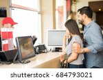 profile view of a young couple... | Shutterstock . vector #684793021