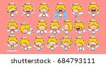 set kit collection sticker... | Shutterstock .eps vector #684793111