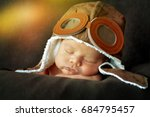 sweet little baby dreaming of... | Shutterstock . vector #684795457