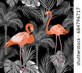 seamless pattern of flamingo ... | Shutterstock .eps vector #684796717