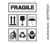 black package handling labels... | Shutterstock .eps vector #684798565
