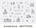 barcelona spain city doodle... | Shutterstock .eps vector #684799285