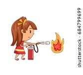 girl fire extinguisher | Shutterstock .eps vector #684799699