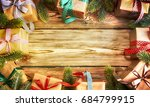 christmas treewith gifts ... | Shutterstock . vector #684799915