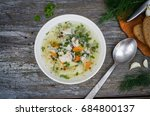 fresh homemade  fish soup on... | Shutterstock . vector #684800137