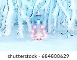 christmas tree in a snowy... | Shutterstock . vector #684800629