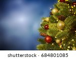 closeup of christmas tree... | Shutterstock . vector #684801085