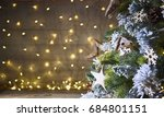 rustic holiday background with... | Shutterstock . vector #684801151