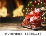 beautiful decorated fireplace... | Shutterstock . vector #684801169
