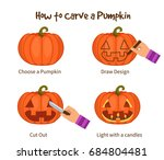 instruction how to carve... | Shutterstock .eps vector #684804481